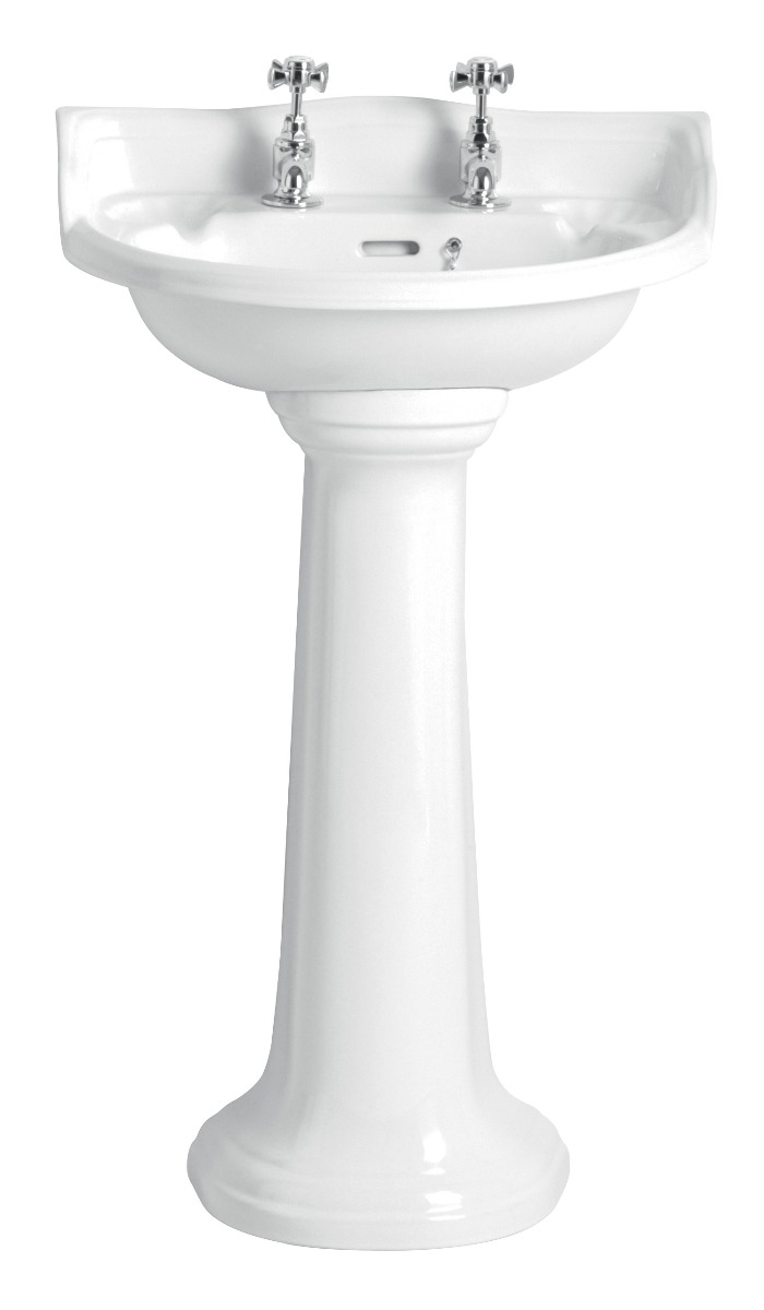 Heritage Dorchester PDW07 2 Tap Hole White Cloakroom Basin
